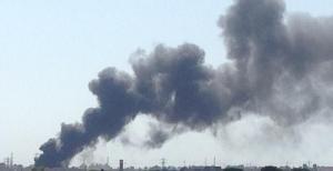 Una immagine del fumo sprigionatosi dall'incendio di ieri