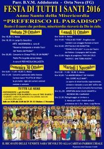 Il programma della Festa di Tutti i Santi
