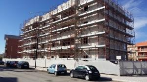 Gli alloggi in costruzione in Piazza Frasca