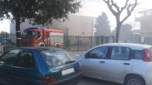 Il deposito della SIA durante l'incendio di oggi
