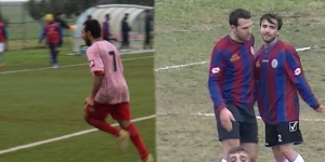 L'esultanza di Maurizio Piscopo nella foto di Luca Miluzio e e a destra quella di Filippo Sodrio